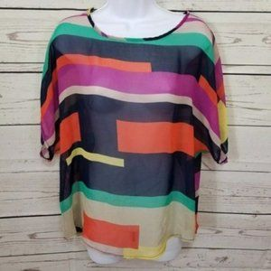 SINGWING sheer multicolored striped dolman top 26
